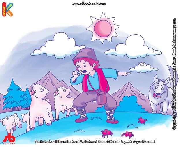 10 menit kumpulan dongeng teladan ilustrasi joni si pembohong dan serigala yang lapar