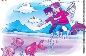 10 menit kumpulan dongeng teladan ilustrasi kisah tiga ekor ikan mas di sungai