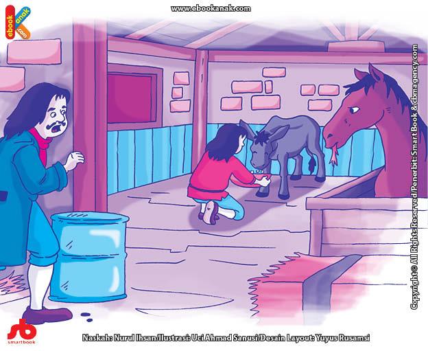 10 menit kumpulan dongeng teladan ilustrasi pemuda baik hati dan keledai ajaib penghasil koin emas
