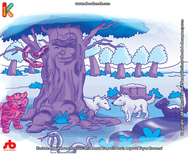 10 menit kumpulan dongeng teladan ilustrasi pohon muda yang pemarah dan pohon tua yang bijak