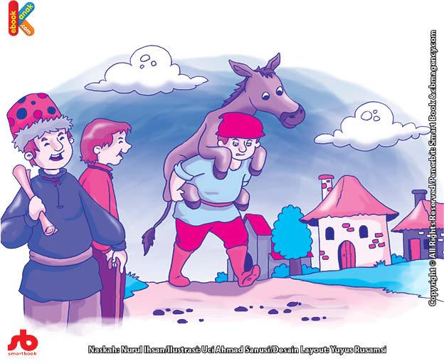10 menit kumpulan dongeng teladan ilustrasi petani dan keledai yang suka diejek