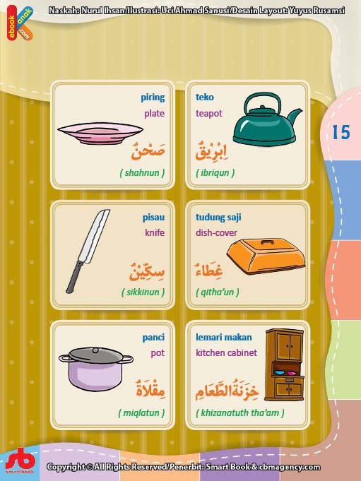 Kamus Bergambar Anak Muslim Di Dapur Bahasa Indonesia Inggris Arab