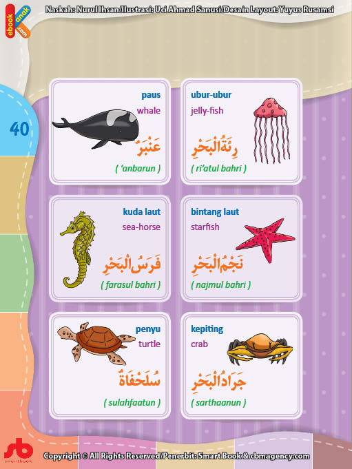 download gratis ebook pdf kamus bergambar 3 bahasa indonesia, inggris, arab nama-nama hewan di laut (2)