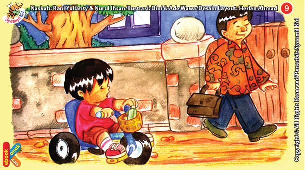 ilustrasi seri kebiasaan anak shalih bagaimana aku berpakaian jika laki-laki jangan pakai kain sutera
