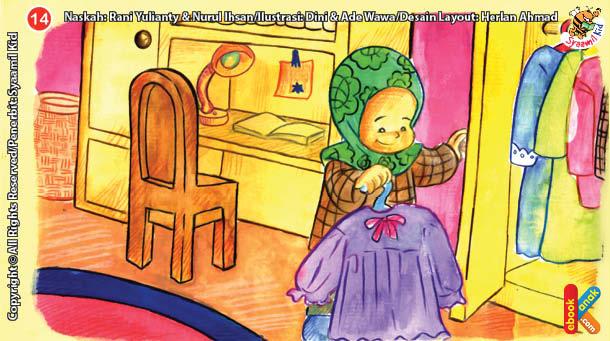 ilustrasi seri kebiasaan anak shalih bagaimana aku berpakaian yang bersih dan menutup aurat