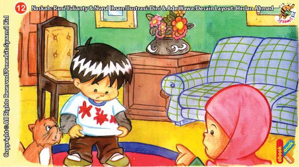 ilustrasi seri kebiasaan anak shalih baju kotor jangan dulu dipakai sebelum dicuci