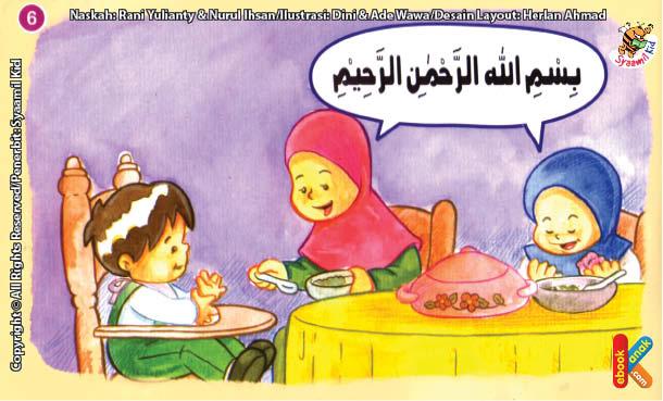 ilustrasi seri kebiasaan anak shalih berdoa sebelum makan