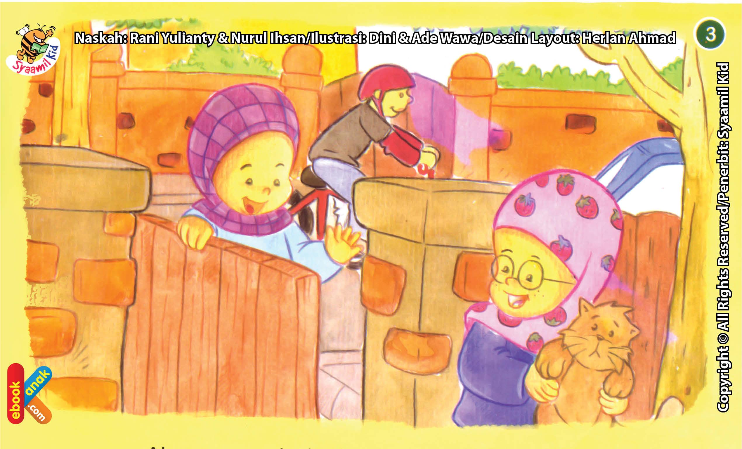 ilustrasi seri kebiasaan anak shalih berkunjung ke rumah teman untuk silaturahim