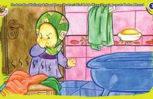 ilustrasi seri kebiasaan anak shalih cepat cuci jika ada pakaian kotor di kamar mandi