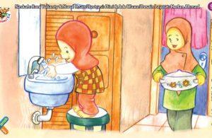 ilustrasi seri kebiasaan anak shalih cucilah tangan sebelum makan