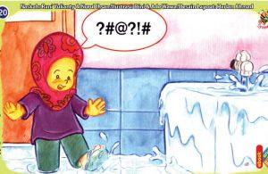 ilustrasi seri kebiasaan anak shalih gunakan air sehemat mungkin