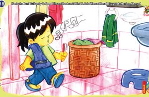 ilustrasi seri kebiasaan anak shalih jangan suka bernyanyi di kamar mandi
