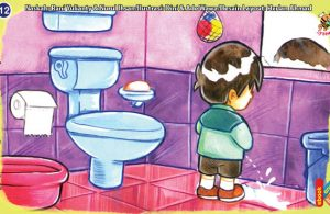 ilustrasi seri kebiasaan anak shalih jika buang air kecil suka jongkok