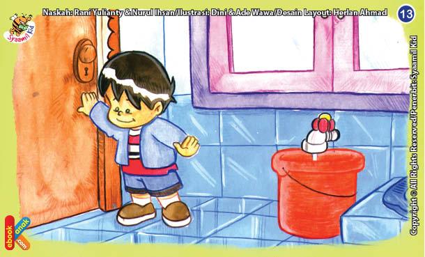 ilustrasi seri kebiasaan anak shalih jika masuk ke kamar mandi jangan lupa menutup pintunya