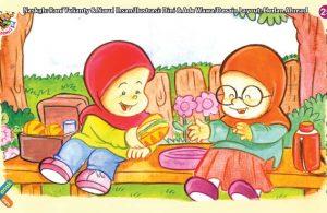 ilustrasi seri kebiasaan anak shalih jika punya makanan suka berbagi