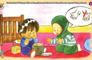 ilustrasi seri kebiasaan anak shalih makan dengan tangan kanan