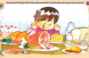 ilustrasi seri kebiasaan anak shalih makan makanan yang halal, bergizi, dan enak