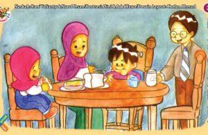 ilustrasi seri kebiasaan anak shalih makan makanan yang halal dan sehat