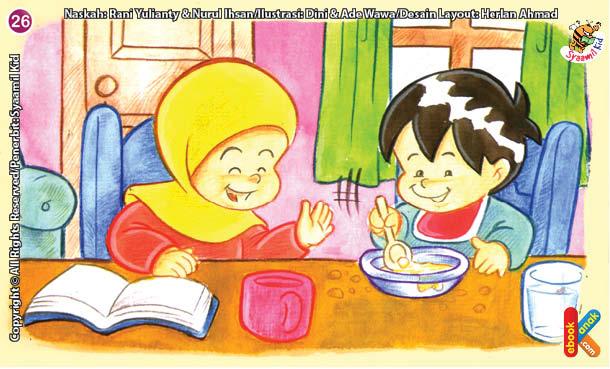 ilustrasi seri kebiasaan anak shalih makan tidak berceceran