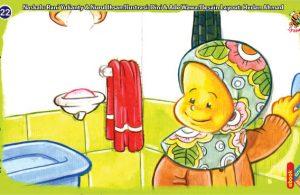 ilustrasi seri kebiasaan anak shalih matikan lampu kamar mandi selesai dipakai
