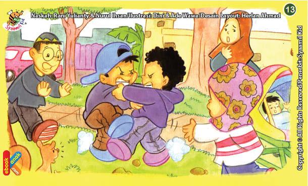 ilustrasi seri kebiasaan anak shalih melerai jika ada teman yang berkelahi