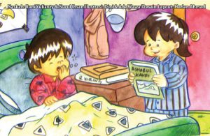 ilustrasi seri kebiasaan anak shalih memakai baju tidur agar tidurmu lebih nyaman