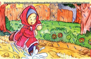 ilustrasi seri kebiasaan anak shalih memakai jas hujan jika turun hujan