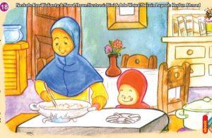 ilustrasi seri kebiasaan anak shalih memasak makanan sampai matang