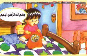 ilustrasi seri kebiasaan anak shalih membaca basmalah dan doa sebelum berpakaian