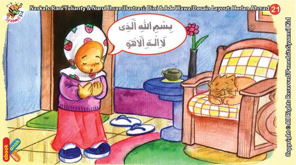 ilustrasi seri kebiasaan anak shalih membaca doa ketika membuka pakaian