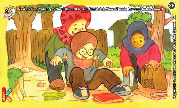 ilustrasi seri kebiasaan anak shalih membantu teman yang kesulitan