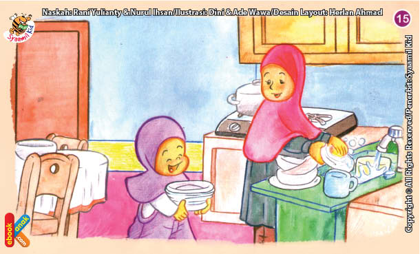 ilustrasi seri kebiasaan anak shalih membereskan bekas makanan