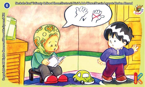 ilustrasi seri kebiasaan anak shalih membersihkan kotoran di kamar mandi dengan tangan kiri