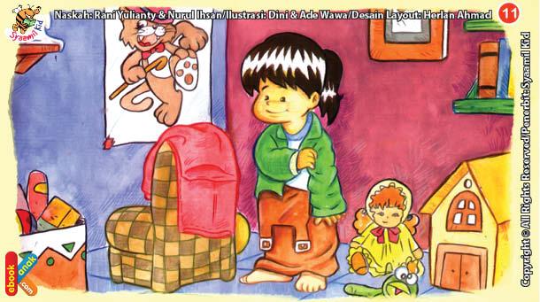 ilustrasi seri kebiasaan anak shalih membuka pakaian dari sebelah kiri