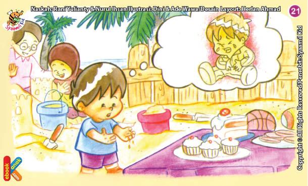 ilustrasi seri kebiasaan anak shalih mencuci tangan sebelum memegang makanan