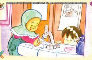 ilustrasi seri kebiasaan anak shalih mencuci tangan setelah selesai makan