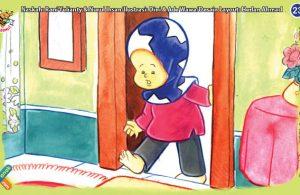 ilustrasi seri kebiasaan anak shalih mendahulukan kaki kanan ketika keluar dari kamar mandi