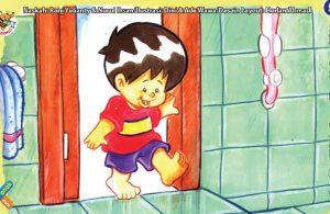 ilustrasi seri kebiasaan anak shalih mendahulukan kaki kiri ketika masuk ke kamar mandi