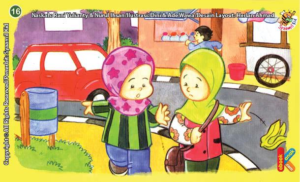 ilustrasi seri kebiasaan anak shalih menegur teman jika membuang sampah sembarangan