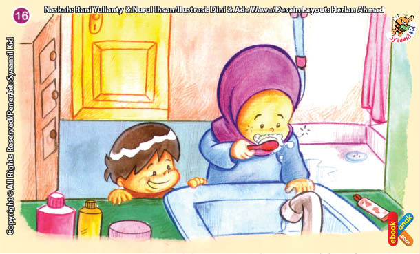 ilustrasi seri kebiasaan anak shalih menggosok gigi selesai makan