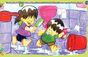 ilustrasi seri kebiasaan anak shalih menghemat air di kamar mandi