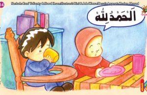 ilustrasi seri kebiasaan anak shalih mengucapkan hamdalah selesai makan