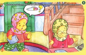 ilustrasi seri kebiasaan anak shalih menjawab jika ditanya dan dipanggil