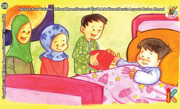 ilustrasi seri kebiasaan anak shalih menjenguk teman jika sakit