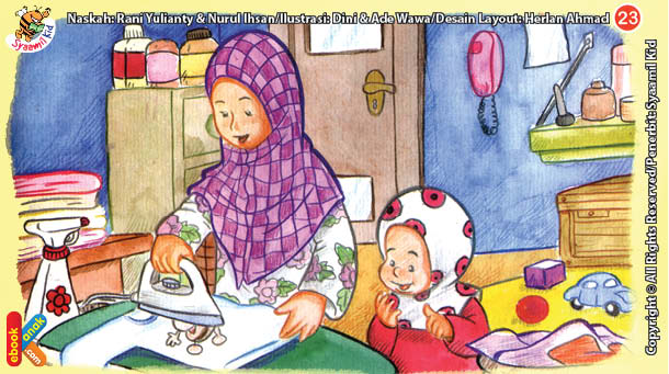 ilustrasi seri kebiasaan anak shalih menyetrika pakaian agar jadi rapi