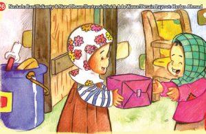 ilustrasi seri kebiasaan anak shalih menyumbangkan baju layak pakai pada orang lain