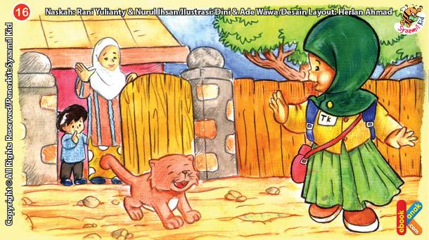 ilustrasi seri kebiasaan anak shalih pakai baju seragam jika belajar du sekolah