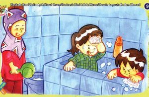 ilustrasi seri kebiasaan anak shalih rutin membersihkan kamar mandi