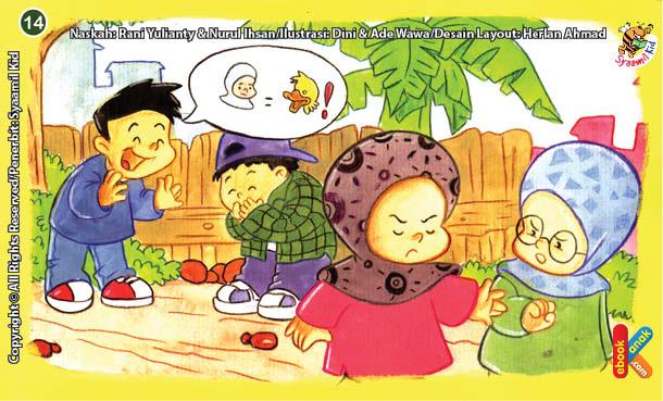 ilustrasi seri kebiasaan anak shalih sabar jika ada teman mengejekmu
