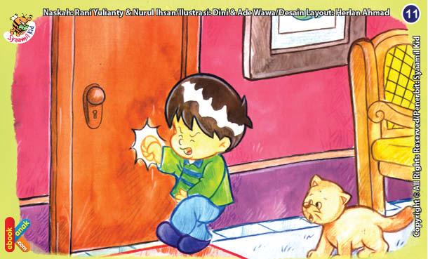 ilustrasi seri kebiasaan anak shalih sabar menunggu giliran ke kamar mandi